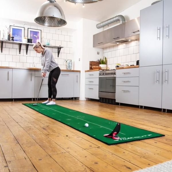 PuttOUT Premium Pressure Putt Trainer Coral Mat in Kitchen